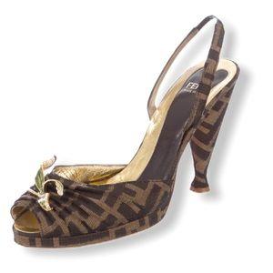 FENDI FF Zucca Slingback Sandals IT37